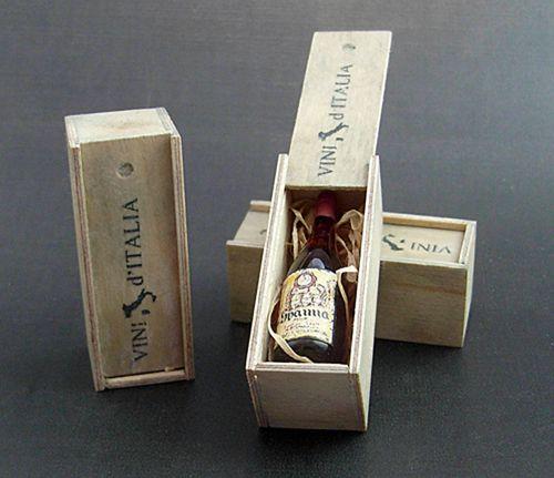 Wine bottle in wood box